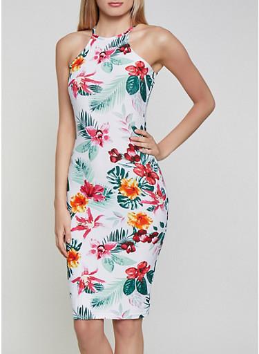 Soft Knit High Neck Floral Dress,IVORY,large