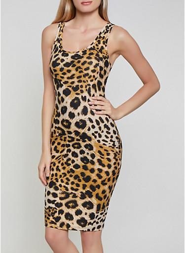 Racerback Cheetah Print Tank Dress,BROWN,large