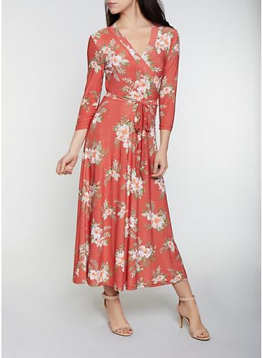 Floral Faux Wrap Maxi Dress | 1094051062955,RUST,large