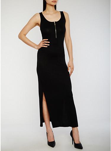 Solid Mid Zip Maxi Dress,BLACK,large