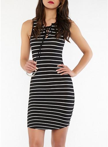 Striped Lace Up Dress,BLACK/WHITE,large