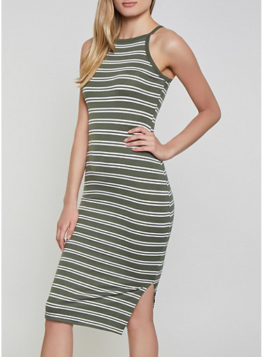 Double Striped Cami Dress,OLIVE,large