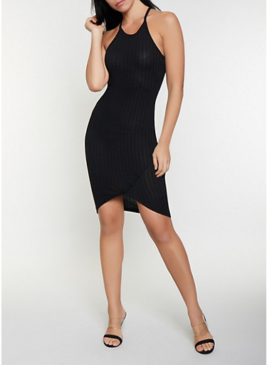 Rib Knit Tank Dress,BLACK,large
