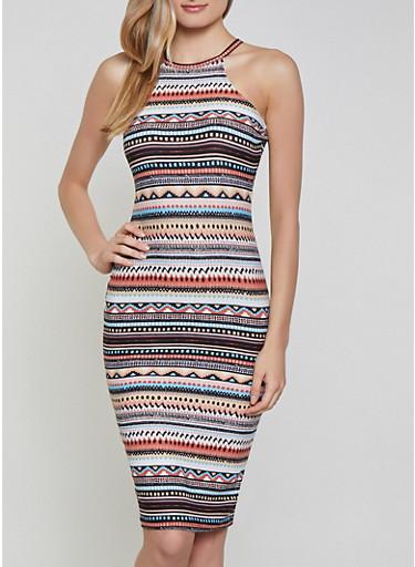Border Print High Neck Dress | 1094051063946,IVORY,large