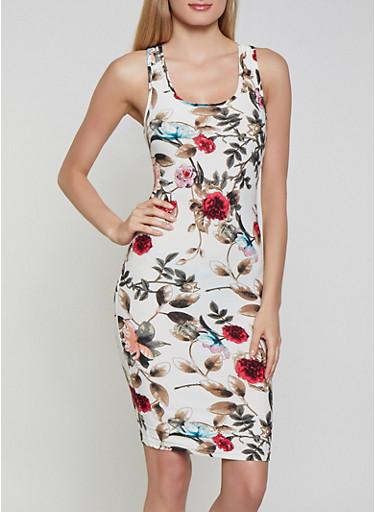 Floral Soft Knit Midi Tank Dress,IVORY,large