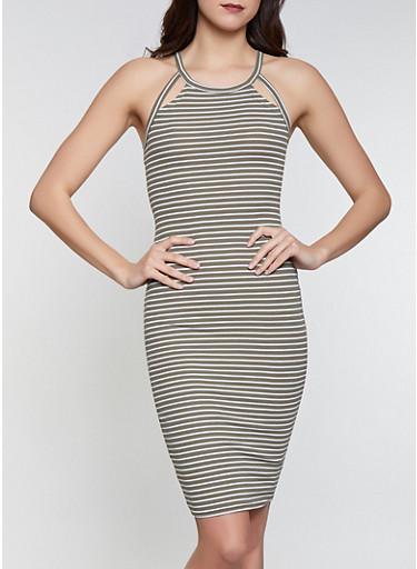 Striped Midi Tank Dress,OLIVE,large