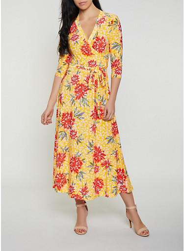 Tie Waist Faux Wrap Floral Maxi Dress,MUSTARD,large