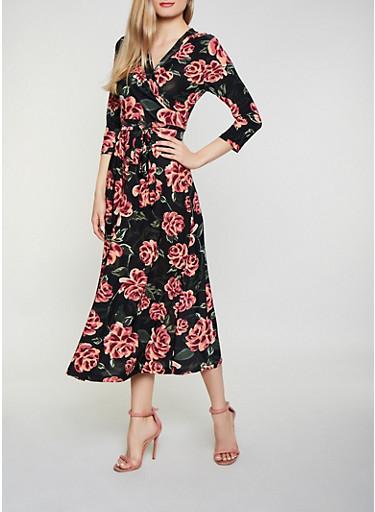 Floral Faux Wrap Dress | 1094051064955,BLACK,large