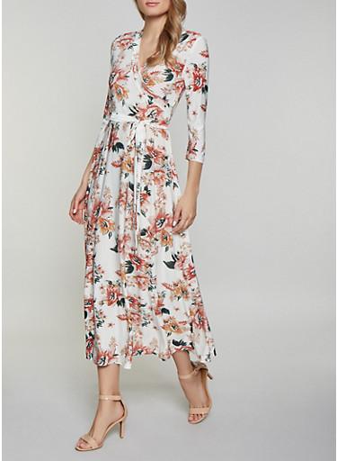 Floral Faux Wrap Maxi Dress   1094051065955,IVORY,large