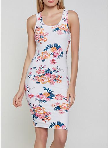Soft Knit Floral Tank Dress   Ivory,IVORY,large
