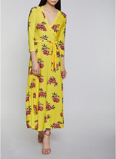 Floral Faux Wrap Maxi Dress | 1094051066955,YELLOW,large