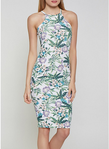 Tropical Floral Bodycon Dress,IVORY,large