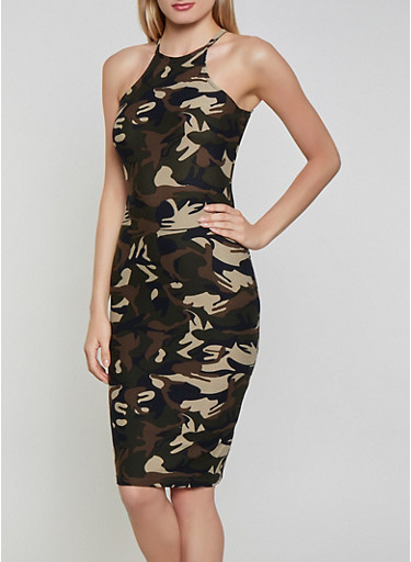 Camouflage Bodycon Dress,OLIVE,large