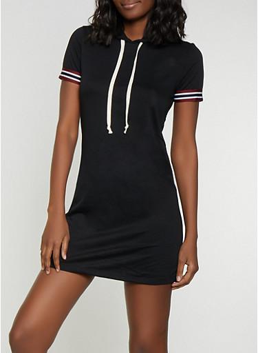 Striped Tape Trim T Shirt Dress,BLACK,large