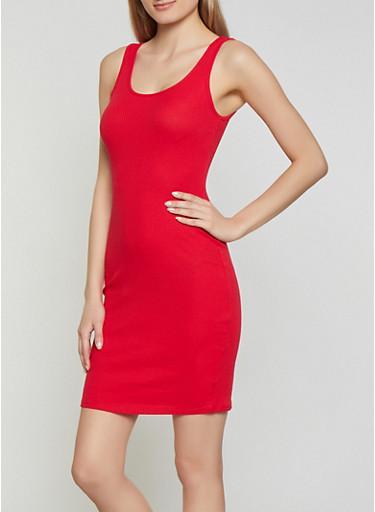 Rib Knit Tank Dress | 1094054261075,RED,large