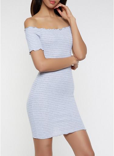 Lettuce Edge Off the Shoulder Dress,HEATHER,large