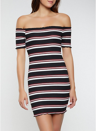 Rib Knit Striped Off the Shoulder Dress,BLACK,large