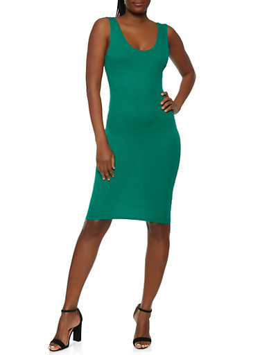 Solid Ribbed Knit Tank Dress,KELLY GREEN,large
