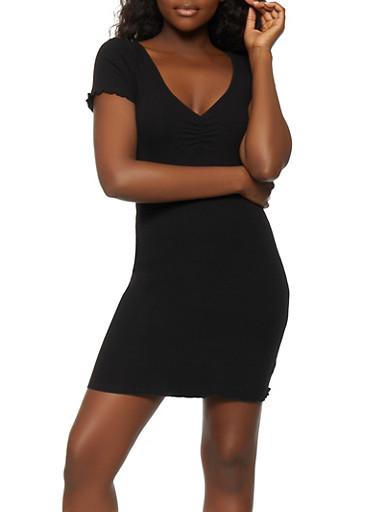 Rib Knit Mini Dress,BLACK,large