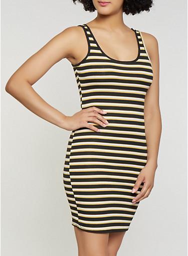 Striped Rib Knit Tank Dress | 1094054263144,BLACK,large