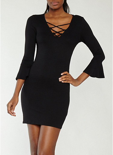 Rib Knit Bell Sleeve Dress,BLACK,large