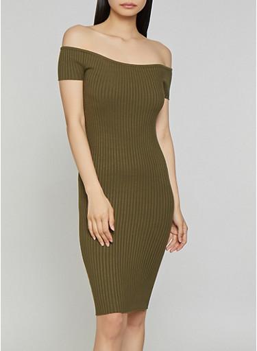 Ribbed Off the Shoulder Midi Dress,OLIVE,large