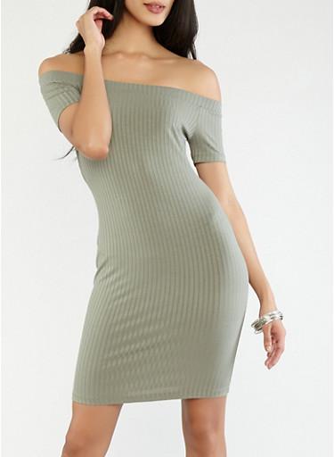 Off the Shoulder Ribbed Knit Dress,GREEN,large