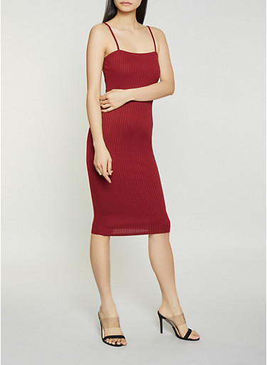 Square Neck Bodycon Dress,WINE,large