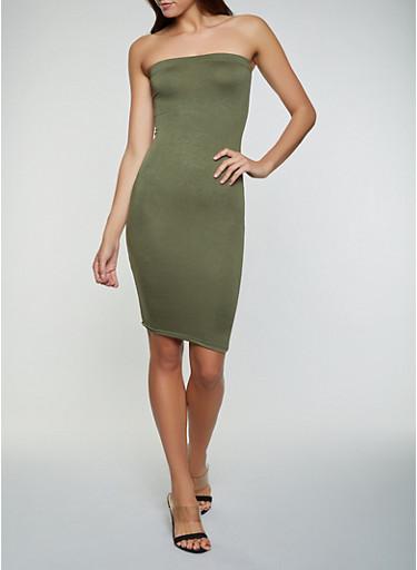 Solid Midi Tube Dress | 1094058750053,OLIVE,large
