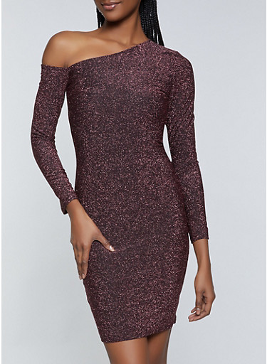 One Shoulder Glitter Knit Dress,ROSE,large