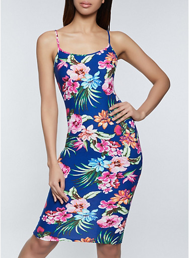 Tropical Floral Cami Bodycon Dress,NAVY,large