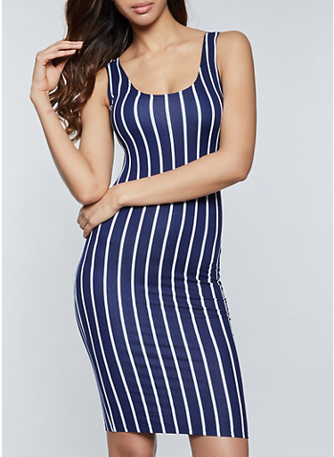 Vertical Stripe Soft Knit Dress,NAVY,large