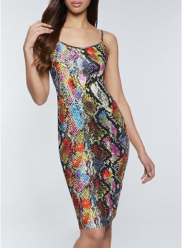 Printed Cami Bodycon Dress,MULTI COLOR,large