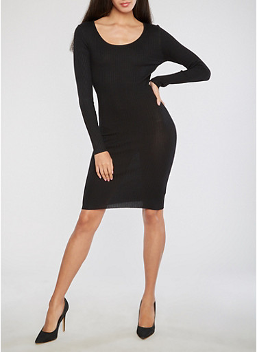 Rib Knit Sweater Dress with Cross Back Detail,BLACK,large