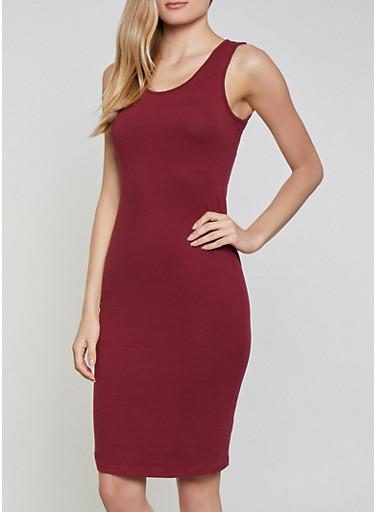Solid Tank Midi Dress | 1094058752790,WINE,large