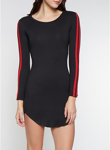 Side Tape Bodycon Dress,RED,large