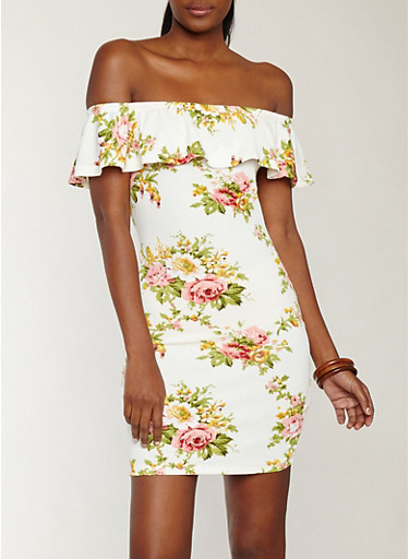 Floral Textured Knit Off the Shoulder Dress,IVORY,large