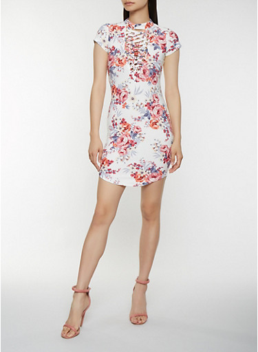 Lace Up Floral Bodycon Dress,IVORY,large