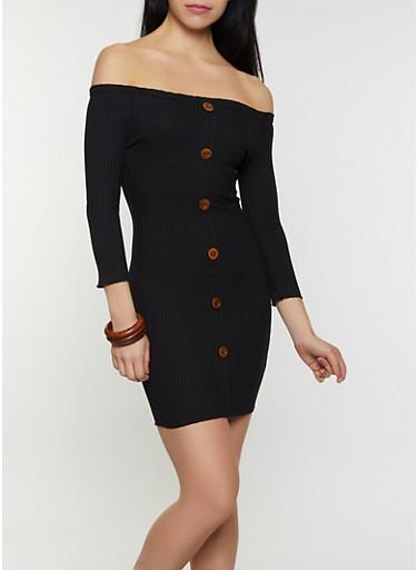 Off the Shoulder Faux Button Bodycon Dress,BLACK,large