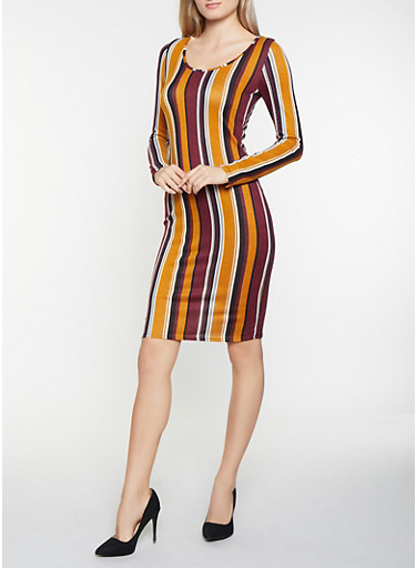 Striped Brushed Knit Bodycon Dress,MUSTARD,large