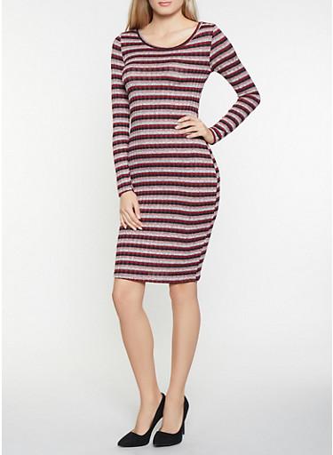 Striped Rib Knit Bodycon Dress,MAUVE,large
