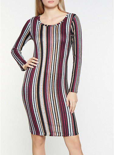 Striped Brushed Knit Bodycon Dress,HEATHER,large