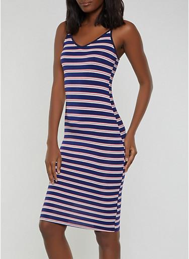 Striped V Neck Cami Dress,NAVY,large