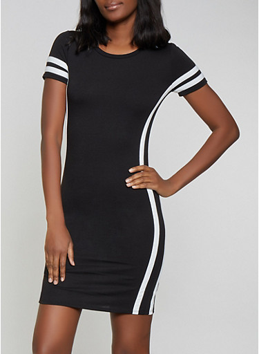 Varsity Stripe Side Slit T Shirt Dress,BLACK/WHITE,large