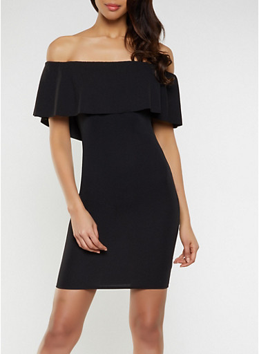 Ruffled Off the Shoulder Bodycon Dress | 1094058754645,BLACK,large
