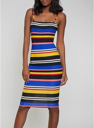 Striped Rib Knit Cami Dress,RED,large