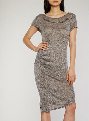 Marled Ruched Side Graphic Print Midi Dress,GREY-BLACK,large