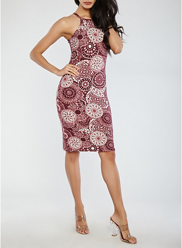 Printed Tank Dress,BURGUNDY,large
