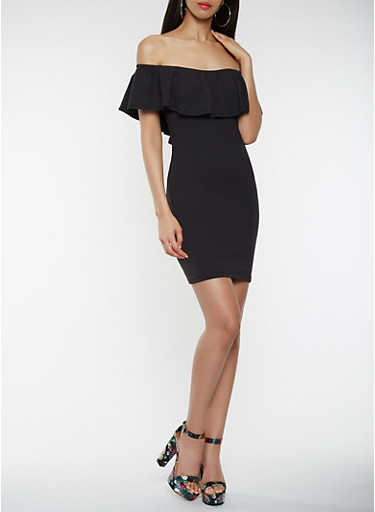 Off the Shoulder Bodycon Dress,BLACK,large