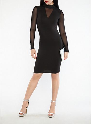 Mesh Sleeve Bodycon Dress,BLACK,large